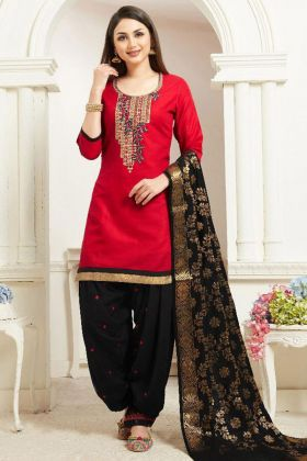 Red Color Jam Silk Cotton Patiala Suit With Embroidery Work