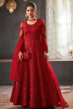 Red Color Net Anarkali Dress With Codding Embroidery Work