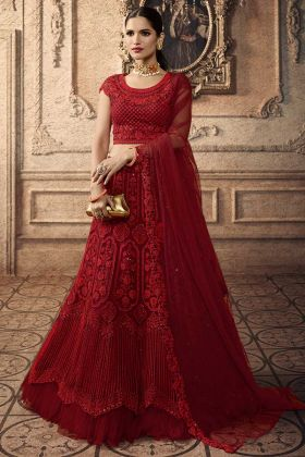 Red Color Net Lehenga Choli With Embroidery Work