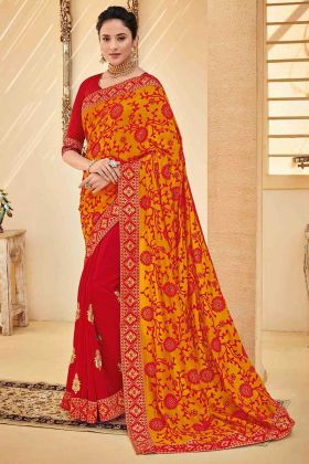 Red Color Poly Silk Half and Half Party Wear Saree With Embroidery Work