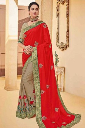 Red Color Poly Silk Half and Half Saree With Embroidery Work