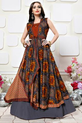 Red color Printed Party Wear Kurti