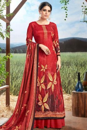 Red Color Pure Crepe Silk Palazzo Salwar Kameez