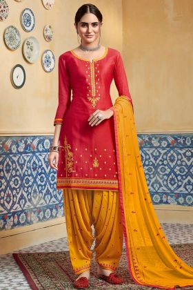 Red Color Pure Satin Punjabi Salwar Suit With Embroidery Work