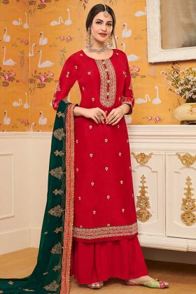 Red Color Pure Viscose Upada Palazzo Suit With Embroidery Work
