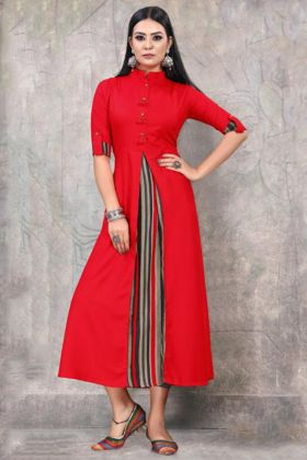 Red Color Rayon Fancy Party Wear Kurti