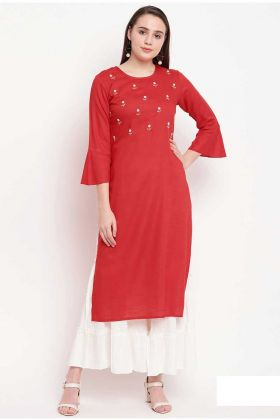 Red Color Rayon Formal Kurti In Hand Work