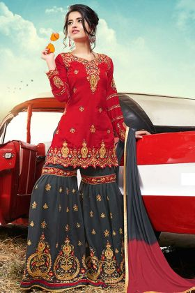 Red Color Satin Salwar Suit In Coding And Stone Work