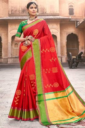 Red Color Silk Saree With Jacquard Work