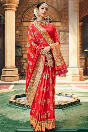 Red Color Silk Wedding Saree With Weaving Work