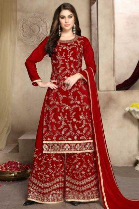 Red Color Stone Work Soft Silk Pakistani Dress With Net Dupatta