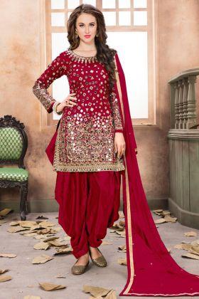 Red Color Taffeta Silk Patiala Salwar Kameez In Mirror Work