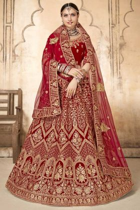 Red Color Velvet Bridal Lehenga Choli With Embroidery Work