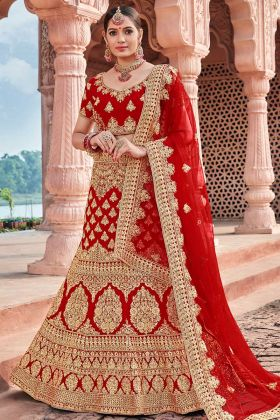 Red Color Velvet Bridal Lehenga Choli With Heavy Embroidery Work