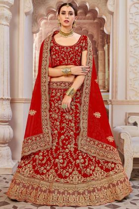 Red Color Velvet Bridal Lehenga Choli With Zari Embroidery Work
