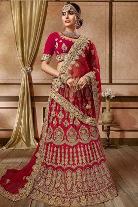 Red Color Velvet Designer Bridal Lehenga Choli With Embroidery Work