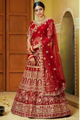 Red Color Velvet Thred Embroidery Work Bridal Lehenga Choli