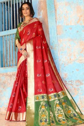 Red Color Weaving Work Cotton Silk Festival Saree