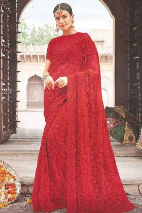 Red Color Zari Work Net Party Wear Saree