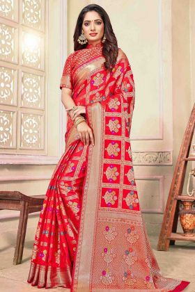 Red Cotton Handloom Indian Wedding Saree Collection
