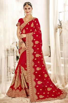 Red Embroidered Bridal Saree