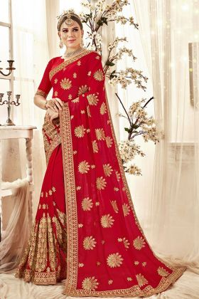 Red Embroidered Bridal Saree Online