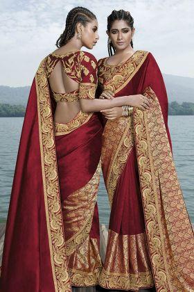 Red Fancy Art Silk Wedding Saree