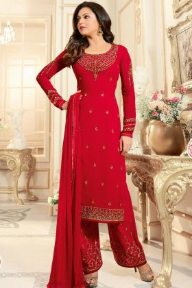 Red Faux Georgette Pant Style Salwar Suit