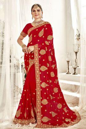 Red Georgette Bridal Saree Online
