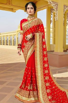 Red Georgette Designer Bridal Saree