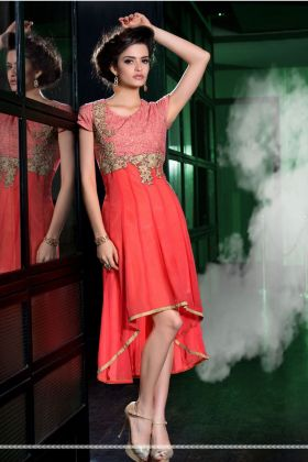 Red Georgette Fancy Kurti