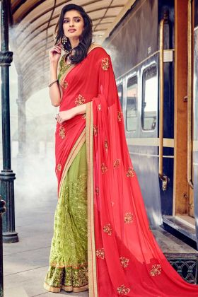 Red Georgette Party Wear Saree With Embroidery