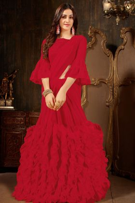 Red Georgette Ruffle Saree