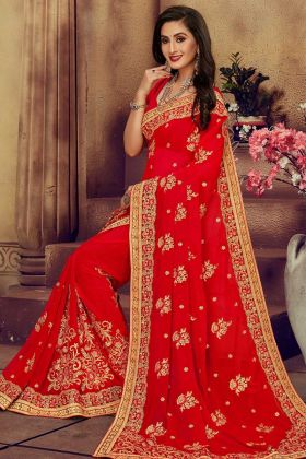 Red Georgette Wedding Saree In Resham Work