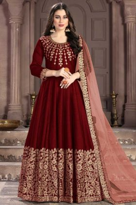 Red Heavy Designer Floor Length Anarkali Dress