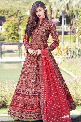Red Heavy Soft Killer Silk Wedding Gown