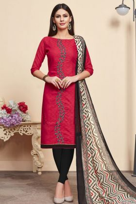 Red Jacquard Cotton Silk Casual Dress Material