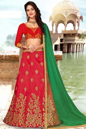 Red Lehenga Choli Design With Art Silk Fabric