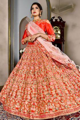 Red Malai Satin Bridal Lehenga Choli Online