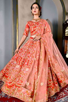 Red Malbari Silk Bridal Lehenga Choli