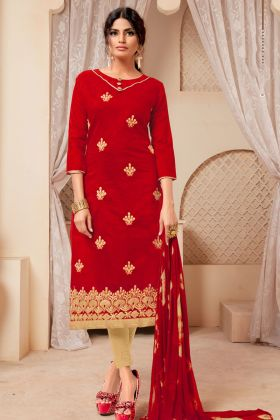 Red Modal Silk Chudidar Salwar Suit