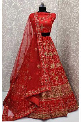 Red Net Designer Lehenga Choli With Zari Embroidered Work