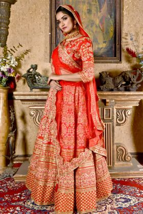Red Pattern Silk Bridal Lehenga Choli