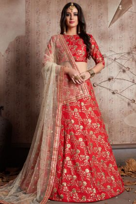 Red Raw Silk Bridal Lehenga Choli