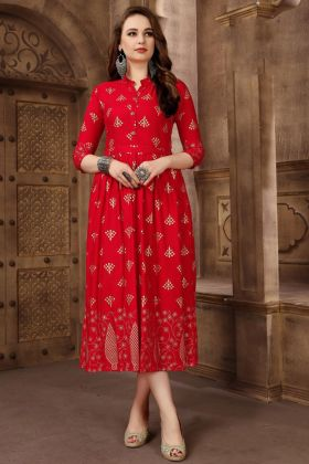 Red Rayon Anarkali Kurti For Girls