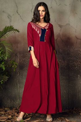 Red Rayon Designer Gown