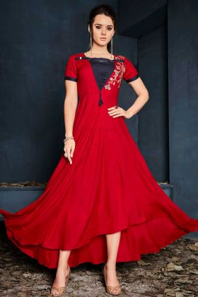Red Rayon Fancy Kurti Online