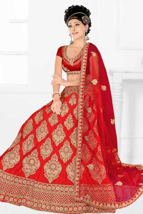 Red Satin Silk Embroidered Bridal Lehenga Choli With Net Dupatta