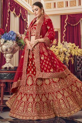 Red Satin Wedding Dulhan Lehenga Choli In Embroidered Work