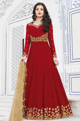 Red Soft Georgette Anarkali Suit Online